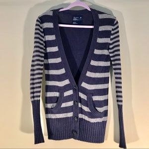 Cotton & Wool Blend Striped Cardigan with Buttons